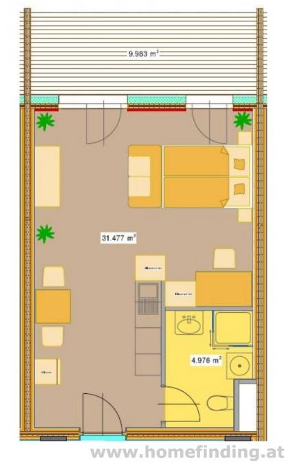 1 rooms with balcony