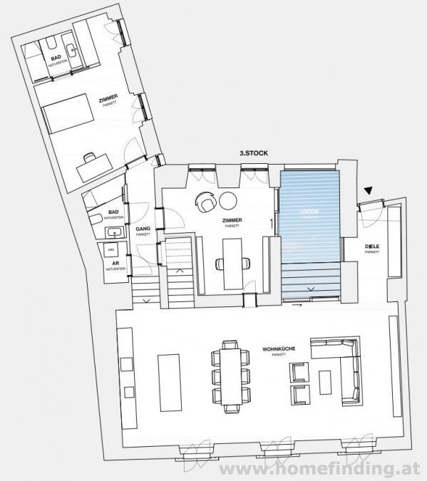 Schönes Penthouse mit Loggia  - unbefristet