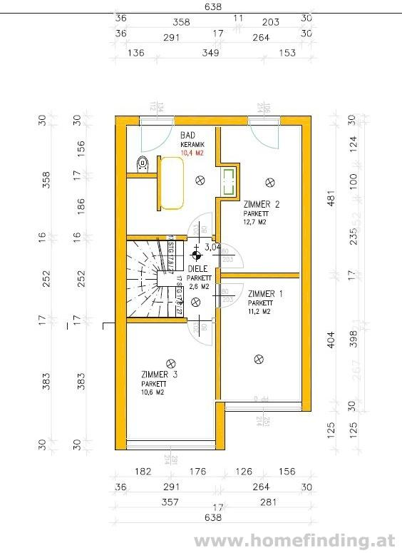 plot with construction plan for a  house close to Korneuburg