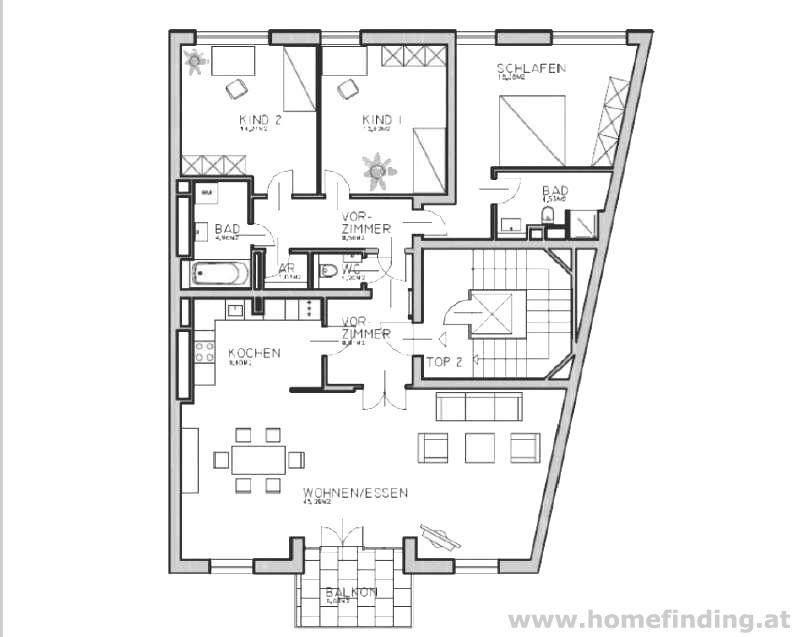 Schöne Balkonwohnung - 3 Schlafzimmer - befristet