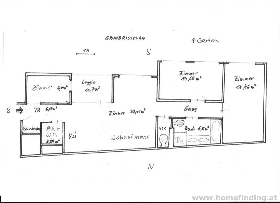 Ober St Veit - südseitige 3 Zimmer mit Loggia, hofseitig