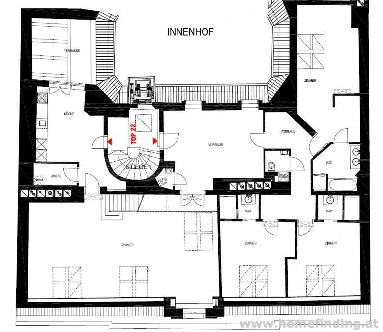 Terrassenwohnung -  Innenstadtpalais (4 Zimmer) - befristet