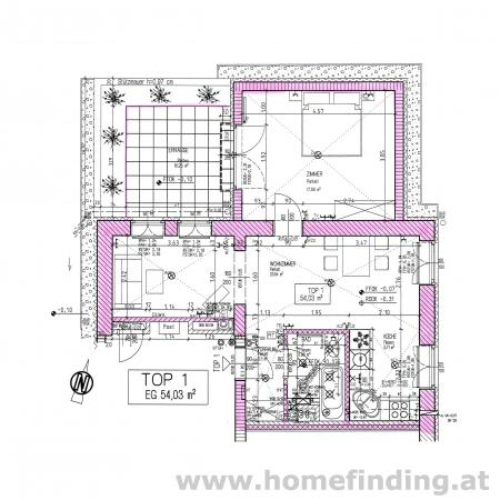 schöne Neubauwohnung:  2 Zimmer mit Terrasse