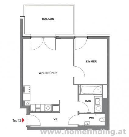 hofseitig: 2 Zimmer mit Terrasse  - 5 Jahre befristet