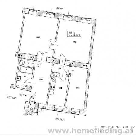 Altes AKH: Altbauwohnung in Hoflage