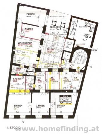 nahe Lycee: 6 Zimmerwohnung mit Terrasse - befristet