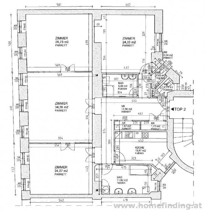 unbefristetet 4-Zimmer- Altbauwohnung/ nahe Kandlgasse