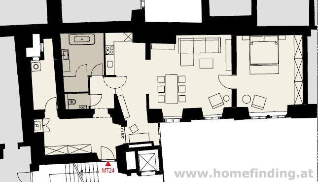 Kohlmarkt-Nähe: 2-Zimmer-Altbauwohnung -unbefristet