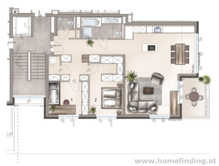 Luxus Balkonwohnung / 3 Zimmer