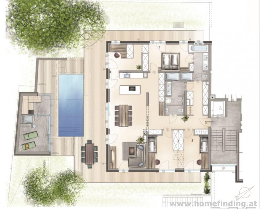 Luxus Wohnung mit Terrasse und Garten / 4 Zimmer