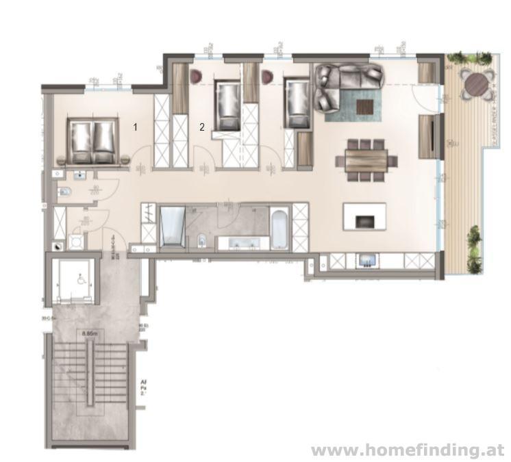Luxus Balkonwohnung / 4 Zimmer